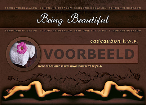 Being Beautiful cadeaubon achterkant